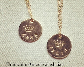Handstamped Crown and Name Charm Necklace - 14k Goldfilled