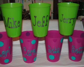 SALE. Monogrammed Plastic Cups Birthday Party Favors Bachlorette Wedding Sports Bright Colored Personalized Stadium Cups ~ Monogram ~ Name