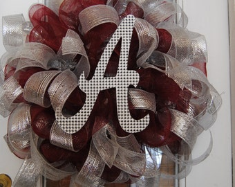 Alabama Deco Mesh Wreath Houndstooth A Maroon and Silver Great for Football Season