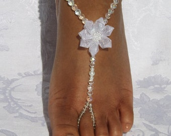Barefoot Sandal Pearl Flower Foot Jewelry Crystal Anklet