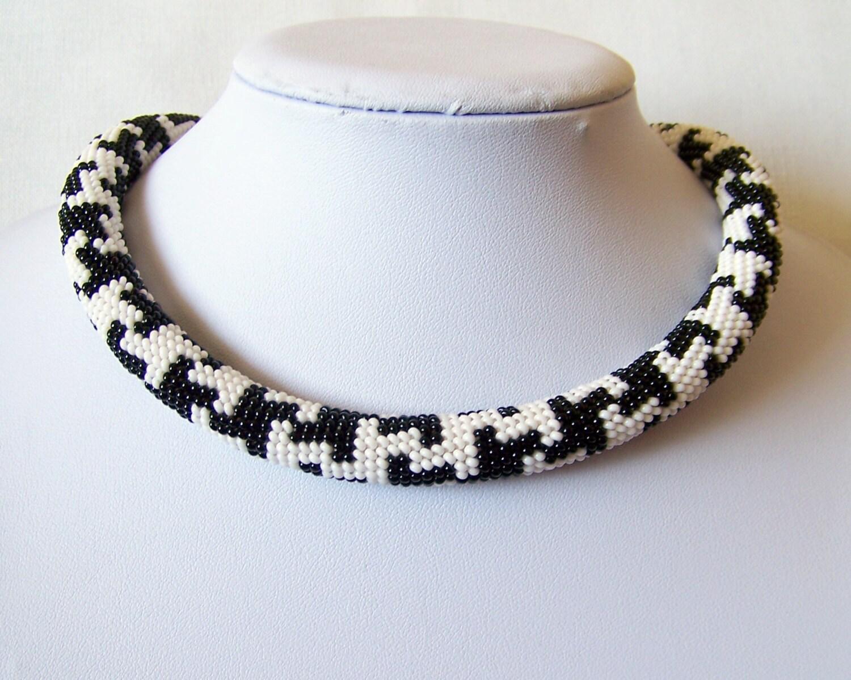beaded crochet rope necklace beadwork seed jewelry