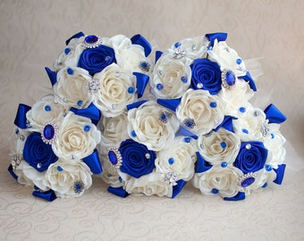 Bridesmaids Brooch bouquet. Ivory and Royal Blue Brooch Bouquet