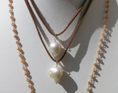 Large Baroque Pearl Pendant on leather, Huge Organic Pearl leather necklace, beachy chic, bohemian, yoga, coachella style layering necklace