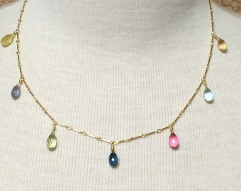 Multi Faceted Sapphire Necklace