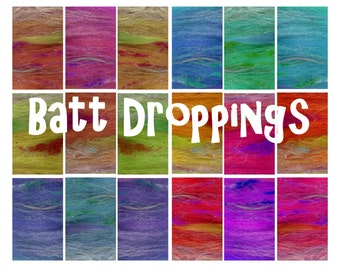 BATT DROPPINGS - spinning Batt  - 50g - 1.7oz - Random Fibre Batts  - spinning - felting