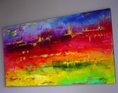 Original Abstract Modern OIL Painting on Canvas 48x24 Large Contemporary Fine Art Wall Decor hand painted artwork by Eugenia Abramson