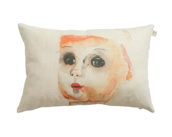 Watercolor portrait on scatter cushion, vintage doll pillow