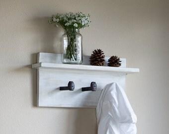 "Farmhouse coat rack with shelf, wall hanger with 3 railroad spike hooks, 18"" x 8""  wall hooks"