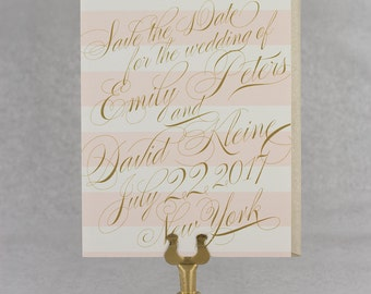 Save the Date Cards, Save the Date Wedding, Glam Wedding, Classic, Elegant, Calligraphy, Stripes - Emily Save the Date Card