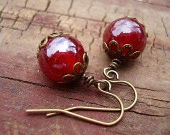 Red Glass Earrings, Dangle Earrings, Drop Earrings, Earrings in Handmade, Womens Jewelry, Earrings Dangle, Boho Earrings, Bohemian Earrings