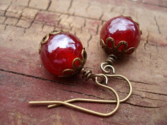 Red Glass Earrings, Dangle Earrings, Drop Earrings, Earrings in Handmade, Womens Jewelry, Earrings Dangle, Boho Earrings, Bohemian Earrings