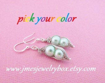 Two peas in a pod earrings - Choose your color! Made to order