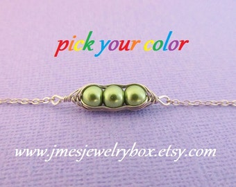 Three peas in a pod bracelet - Choose your color! Made to order
