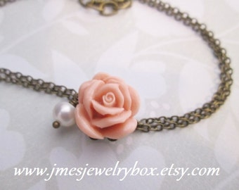 Double chain dusty rose bracelet with freshwater pearl (adjustable)
