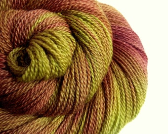 Sock Yarn, fingering weight yarn, 4 ply hand dyed blue faced leicester wool- 300 meters, lime green & chocolate browns