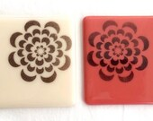 Fused Glass Coasters in Salmon & Vanilla