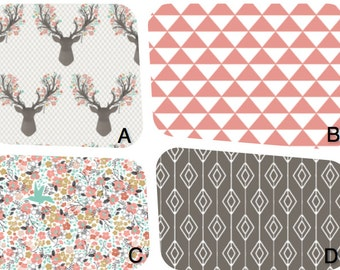 Stag Nursery items in coral and stone fabric. Changing covers,crib skirt,rail guard,sheet, pillows, curtains or any other item!