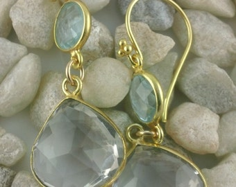 Stunning Blue Topaz and Rock Crystal (heart) Dangle earrings