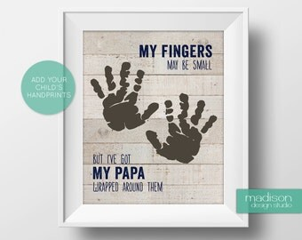 PAPA // FATHERS DAY - My Fingers May Be Small, Footprints, Wood // Instant Download