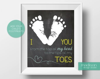 I Heart You - Add Your Footprints, Printable // Instant Download // Chalkboard