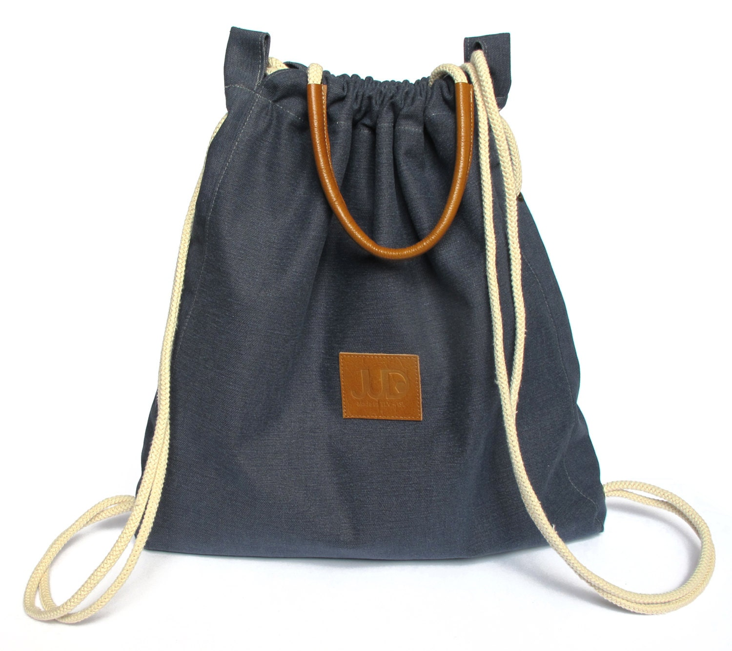 Navy backpack purse multi sack bag SALE Navy tote bag gold