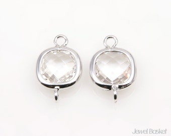 Crystal Glass and Silver Frame Connector - 2pcs Crystal Square Connector, Earrings Jewelry Connector / 9x14mm / SCRS068-C