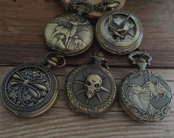 5pcs  big series round pocket watch charms pendant 45mm