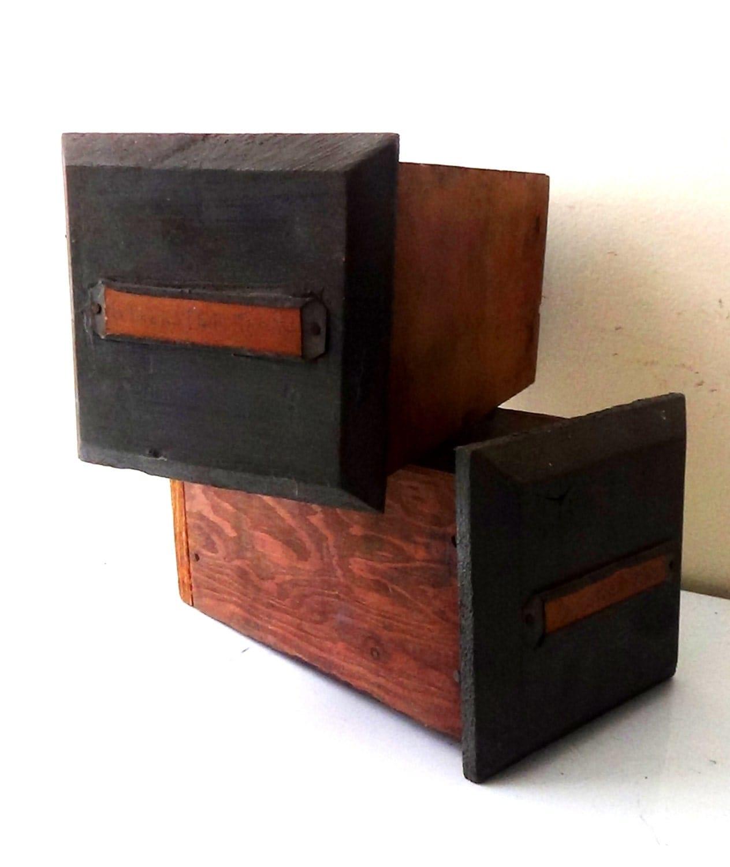 set of 2 vintage handmade wood parts bins boxes wall. Black Bedroom Furniture Sets. Home Design Ideas