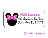 30 Personalized Minnie Mouse return address lables Minnie mouse Labels Minnie Mouse Address Label