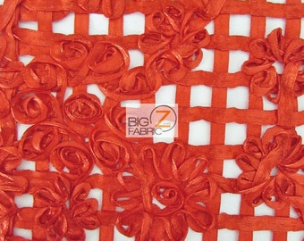 """Shiny Lattice Rosette Nylon Fabric - RED - Sold By The Yard 53"""" Width"""