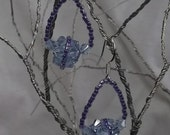 "Exquisite Swarovski Crystals, Small Barrel shaped ball of Lavender crystals.  Beaded with Deep Lavender Miyuki Beads  1"" by 3/4"""