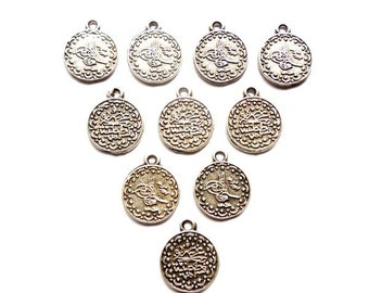 10 Silver Tughra Coin Charms -21-23-2