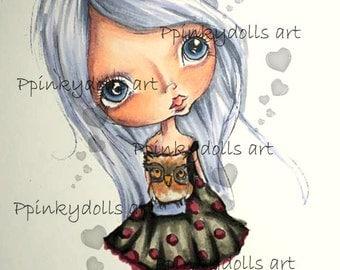 INSTANT DOWNLOAD Digital Digi Stamps..by Chrishanthi's art,Owl''