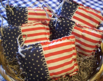 American Flag Primitive Rustic Handmade,Scented Bowl Fillers,Father's Day, USA, Patriotic, July 4th, Independence Day, Red, White, Blue