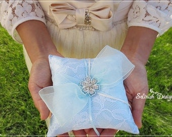 Mini Blue Ring Bearer Pillow, Something Blue Wedding, Light Blue Wedding pillow, Baby Blue Ring Pillow- code: RP157blue