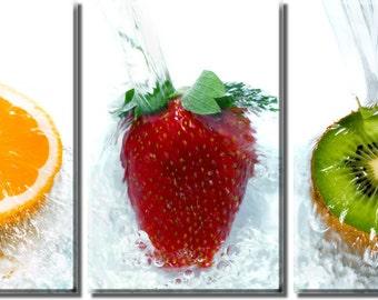 Framed Huge 3-Panel Orange Strawberry Kiwi Fruits Canvas Art Print - Ready to Hang