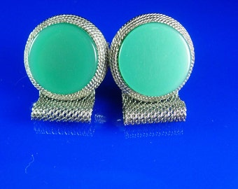 MOONGLOW Cuff links Turquoise Vintage Cufflinks Silver Mesh Wrap mens Jewelry hipster tuxedo jewellery