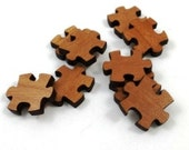 Laser Cut Supplies-8 Pieces.Puzzle Piece Charms - Laser Cut Wood Puzzle -Earring Supplies- Little Laser Lab Sustainable Wood Products