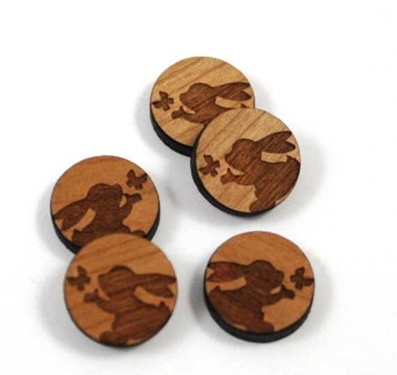 Laser Cut Supplies-8 Pieces.Bunny Charms - Laser Cut Wood Bunny -Earring Supplies- Little Laser Lab Sustainable Wood Products