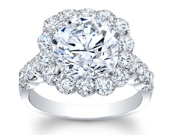 Women's Platinum shared prong halo engagement ring with 4ct natural Cushion Brilliant White Sapphire Center 2.00 ctw G-VS diamonds
