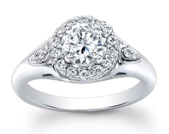 Ladies Platinum vintage engagement ring with 1.50ct white sapphire center 0.33 ctw G-VS diamonds