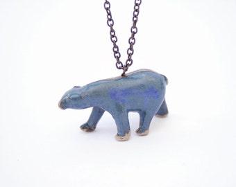 Polar Bear Pendant. Blue Bear Necklace. Stoneware Necklace. Bear Jewelry. Polar Bear Jewelry. Ceramic Jewelry. Porcelain Jewelry Polar Bear.