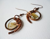 Wire wrapped Moon copper earrings - wire wrapped jewelry handmade - wire wrapped Earrings handmade