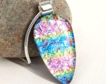 Rainbow Dichroic Glass Pendant - Fused Glass Jewelry - Glass Necklace