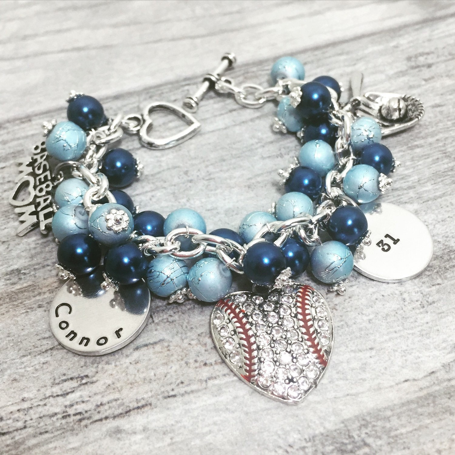 Personalized Baseball Mom Charm Bracelet By