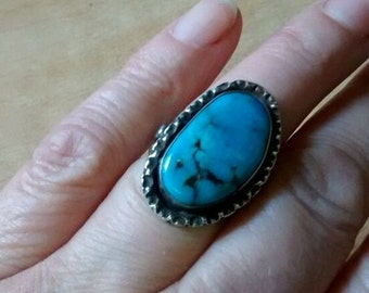 Vintage Navajo Turquoise Silver Ring - Size 6 - 6 1/2 (UK: L-M)