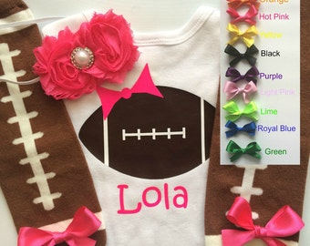 Baby Girl Football Outfit - personalized baby girl outfit - football legwarmers - girly football outfit- CHOOSE COLOR