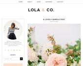 "Wordpress Theme Premade Blog Template Design - ""Lola"" Instant Digital Download"