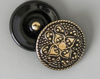 Beauty in Black and Gold Glass Czech Glass Button - 32mm - 1264