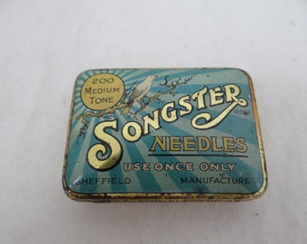 1930s Vintage Songster Gramophone Needles Tin Box with Insert and Needles